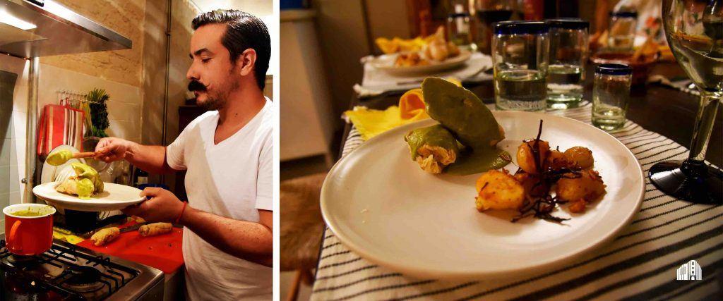 Gonzalo Sierra sirviendo y presentando el plato fuerte de la cena