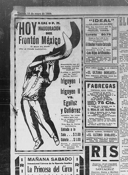 Publicidad de la Inauguración de Frontón México en 1929