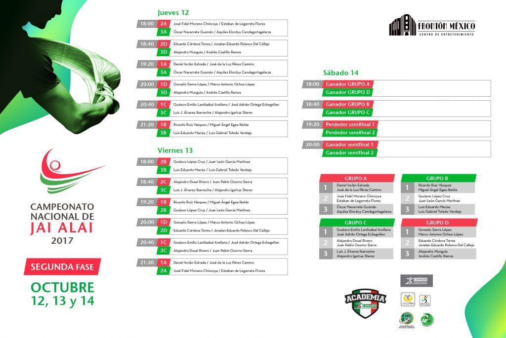 Partidos Campeonato Nacional Jai Alai 2017 Segunda Fase