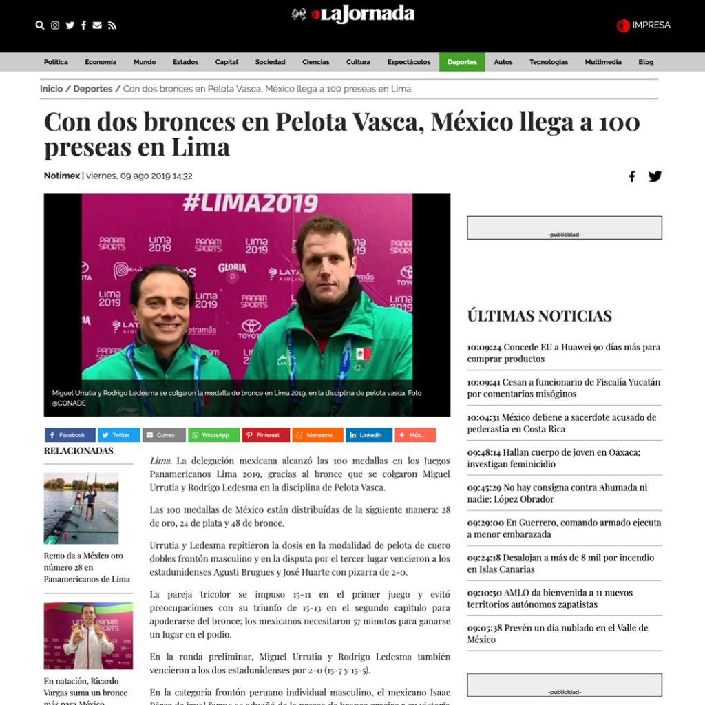 Pelota Vasca: mediatización Lima 2019