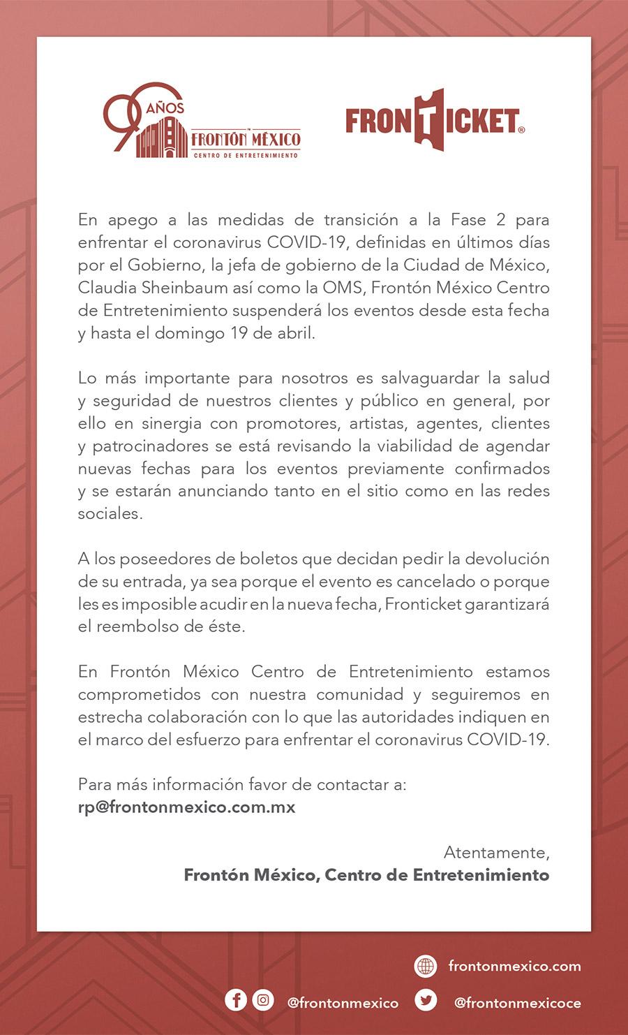 Comunicado Frontón México Covid-19