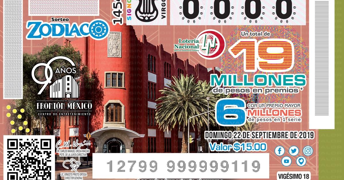 Sorteo Zodiaco Frontón México 2019